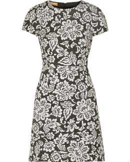 Floral-print Cotton And Silk-blend Matelassé Mini Dress
