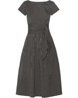 Checked Cotton-blend Poplin Midi Dress