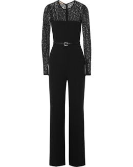Lace-paneled Wool-blend Jumpsuit