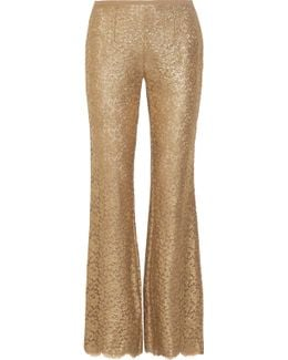 Metallic Guipure Lace Flared Pants