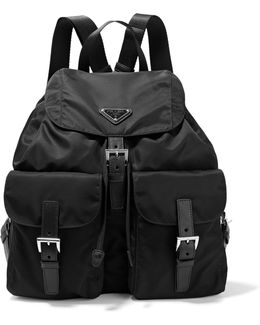 Vela Large Leather-trimmed Shell Backpack