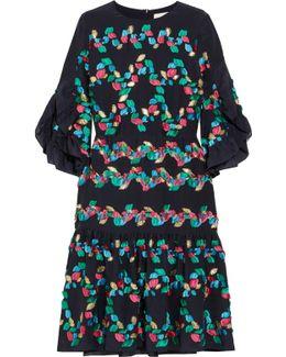 Ruffled Fil Coupé Silk-blend Dress