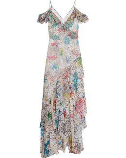 Cold-shoulder Ruffled Printed Silk-chiffon Gown