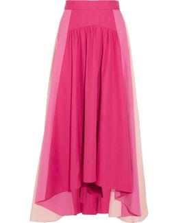Asymmetric Color-block Cotton-poplin Midi Skirt