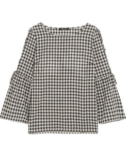 Tie-detailed Gingham Cotton Top