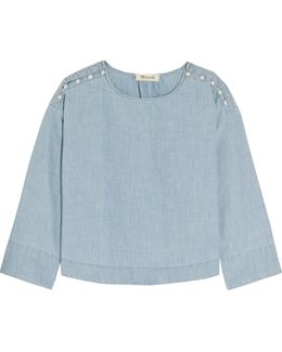 Button-detailed Cotton-chambray Top