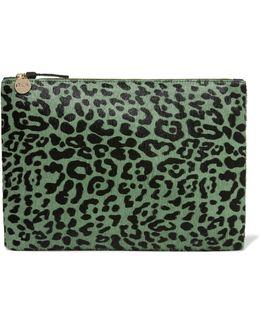 Leopard-print Calf Hair Clutch