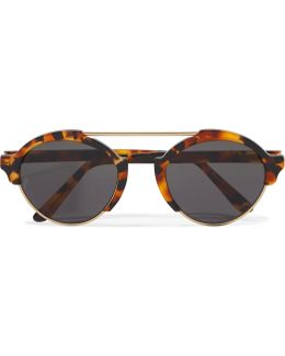 Milan Iii Round-frame Acetate And Gold-tone Sunglasses