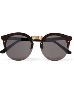 Palermo Round-frame Gold-tone And Acetate Sunglasses