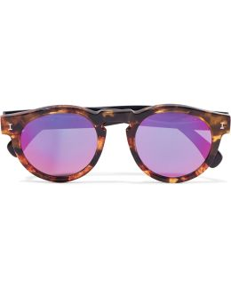 Leonard Round-frame Tortoiseshell Acetate Mirorred Sunglasses