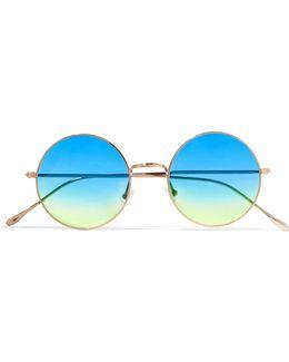 Porto Cervo Oversized Round-frame Gold-tone Mirrored Sunglasses