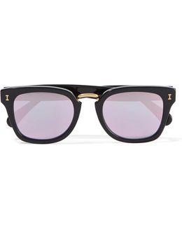 Positano Square-frame Acetate Mirrored Sunglasses