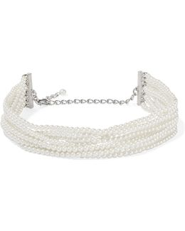 Rhodium-plated, Faux Pearl And Crystal Necklace