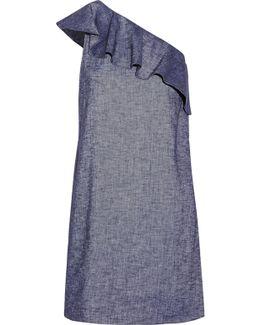 Alexandra One-shoulder Ruffled Linen-blend Mini Dress