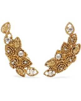 Millegrain Petal Gold-plated Crystal Clip Earrings