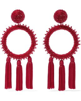 Large Beaded Circle Tassel Clip On Earrings