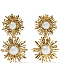 Sun Star Gold-plated Faux Pearl Clip Earrings