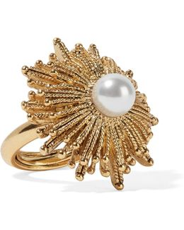 Sun Star Gold-plated Faux Pearl Ring