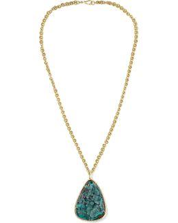 18-karat Gold, Chrysocolla And Diamond Necklace