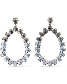 Caterina Large Rhodium-dipped Quartz Earrings