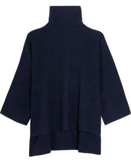 Oversized Ribbed Wool Turtleneck Poncho