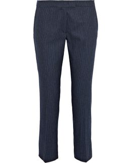 Finley Pinstriped Stretch Wool-blend Tapered Pants