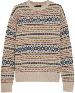 Layered Intarsia Wool Sweater