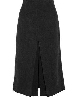 Hart Herringbone Wool Midi Skirt