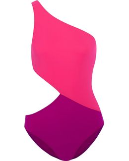 Elmar One-shoulder Cutout Two-tone Swimsuit