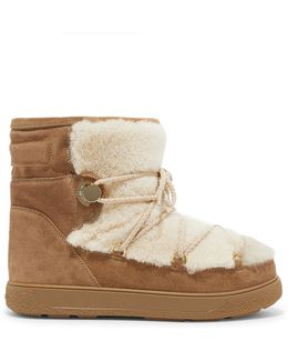 New Fanny Shearling-paneled Glittered Suede Snow Boots