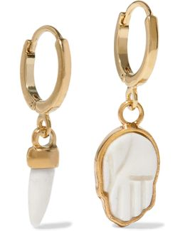 Gold-tone Bone Hoop Earrings