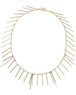 Fringed Silver And Gold-tone Necklace