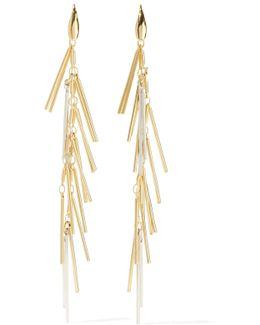 Fringed Gold And Silver-tone Earrings