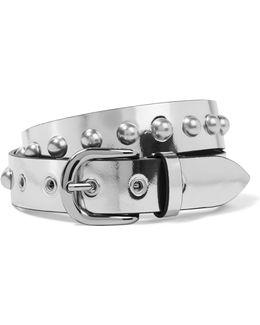 Zoa Studded Metallic Leather Belt