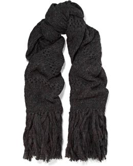 Dylan Oversized Fringed Open-knit Scarf