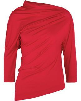 Liberate Asymmetric Draped Stretch-jersey Top