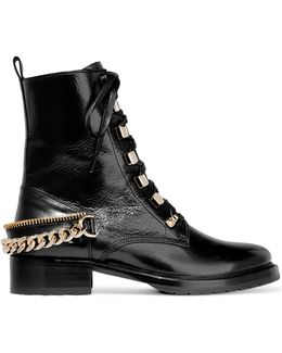 Embellished Glossed Smooth And Textured-leather Ankle Boots