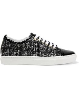 Patent Leather-trimmed Tweed Sneakers