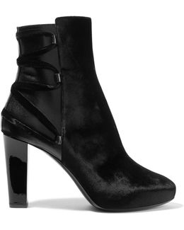 Lace-up Leather-trimmed Velvet Ankle Boots