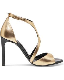 Harnais Metallic Leather And Patent-leather Sandals
