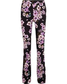 Floral-print Silk-crepe Flared Pants