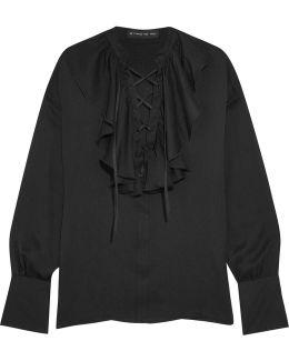 Ruffled Lace-up Silk-jacquard Blouse