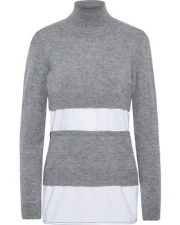 Paneled Knitted And Poplin Turtleneck Sweater
