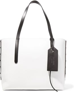 Twist East West Color-block Textured-leather Tote
