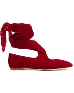 Elodie Lace-up Velvet Ballet Flats