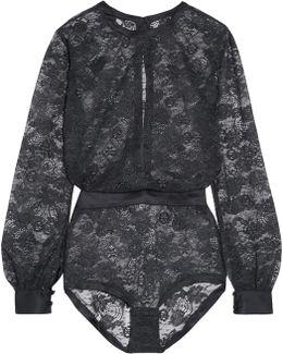 Bijoux Satin-trimmed Lace Bodysuit