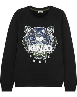 Tiger Appliquéd Cotton-jersey Sweatshirt