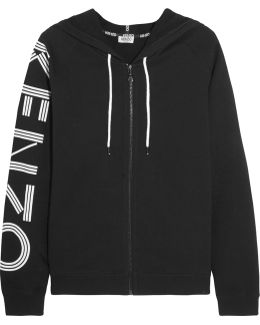 Printed Cotton-jersey Hooded Top