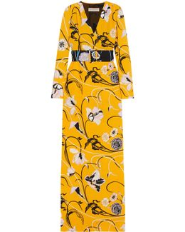 Belted Floral-print Crepe Gown