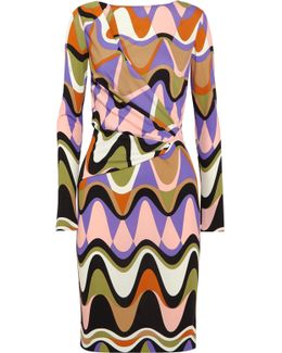 Printed Gathered Jersey Dress